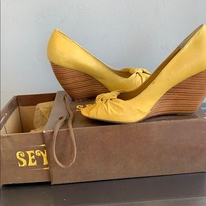 """Seychelles Shoes - Yellow Leather 3"""" wedge heel sandals by SEYCHELLES"""